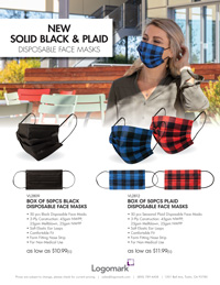 Plaid & Solid Black Facemask